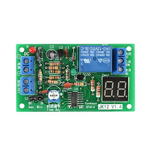 Relais Temporisé 12V, Akozon DC 12V Module de Relais de Minuterie de Temporisation Compte à Rebours avec Affichage LED Numérique Module de Commutation de Relais