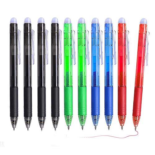 Bolígrafo Borrable Punta 0.7 mm, Juego de 10 bolígrafos retráctiles de gel borrables para escribir en la escuela y la oficina (Negro, azul, verde, rojo)