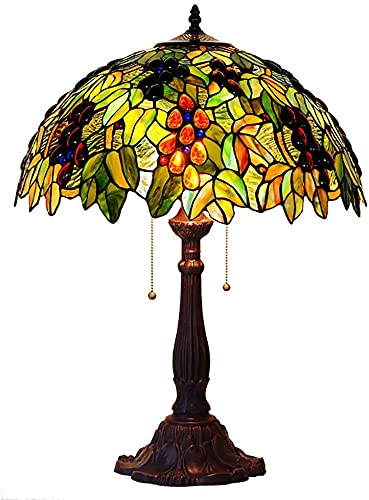 Lámpara de mesita de noche Lámpara de mesa estilo tiffany, 2-lights Green Shade Shade Living Sala de estar Lámpara de iluminación E27 40W Aleación de zinc Escritorio Lámpara de mesa-verde