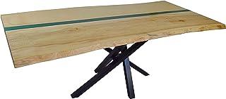 Table de salle à manger avec plateau en bois massif 50 mm en résine époxy fabriquée à la main