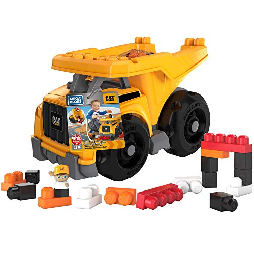 Mega Bloks Camion Benne CAT, jeu de voiture et de blocs de construction, 25 pièces, jouet pour bébé et enfant de 1 à 5 ans, DCJ86
