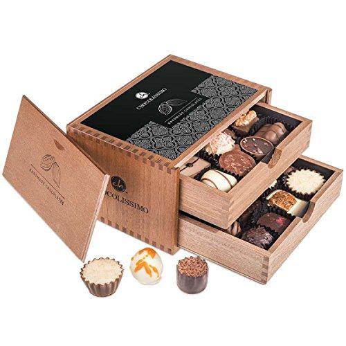 Chocolaterie - zwanzig handgemachte Pralinen im Holzkästchen - Weihnachten - Geschenk - Schokolade