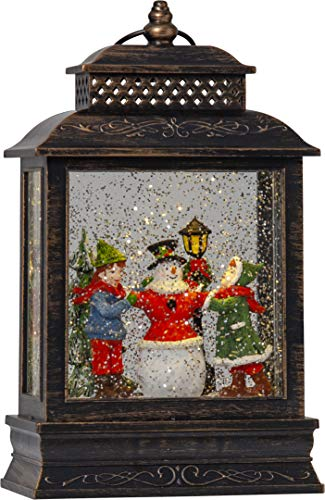Star Vinter LED-Laterne Kinder mit Schneemann, Kunststoff, Bronze, ca.16 x 27 cm