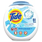 Tide PODS Free & Gentle, Laundry Detergent Liquid Pacs, Unscented and Hypoallergenic for Sensitive Skin, 81 Count - Packaging May Vary