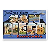 GREETINGS FROM SAN DIEGO, CA vintage reprint postcard set of 20 identical postcards. Large Letter San Diego, California city name post card pack (ca. 1930's-1940's). Made in USA.