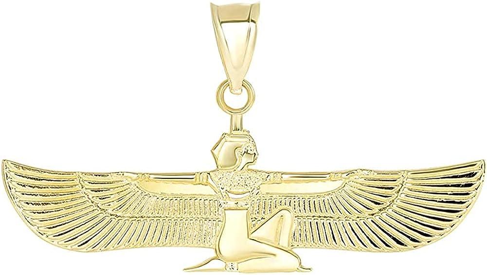 14K Yellow, White, or Rose Gold Winged Egyptian Goddess Isis Pendant Charm