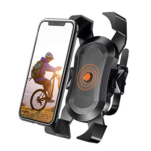Soporte de teléfono de bicicleta, bloqueo de emergencia automático y moto, compatible con la mayoría de smartphones de 4 a 6 pulgadas