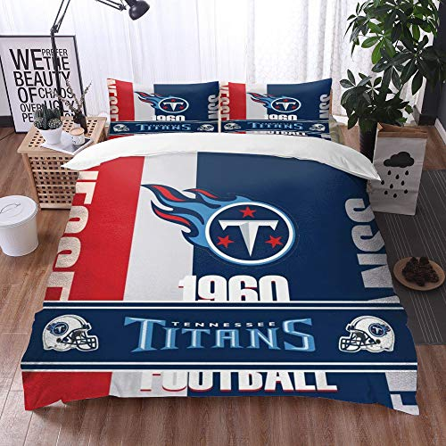 XiHi Duvet Cover Set, Bed Sheets, Rugby team Tennessee Titans Solid color background Artistic creative theme,1 Duvet Cover Set 135 * 200 cm,+2 pillowcase 50x80cm