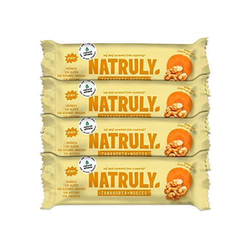 NATRULY Barritas Energéticas BIO Sin Azúcar Añadido, 100% Natural y Orgánicas, Sin Gluten, Vegana, Carrot Cake -Pack 4x40g