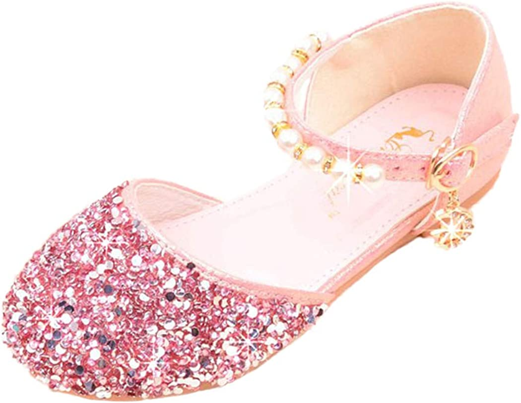 xzbailisha Summer Children Girls Glitter Sandals Flat Princess Shoes Mary Janes for Party Dress