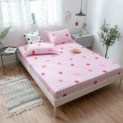 huyiming Verwendet für Einzelstück Baumwolle Baumwolle Bettdecke Anti-Rutsch-Bettdecke Simmons Schutzhülle 1.51.8 Matratze Set Schatz Erdbeere 150 * 200 * 30