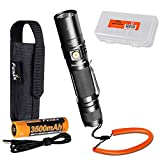 Fenix UC35 V2.0 2018 Upgrade 1000 Lumen Rechargeable Tactical Flashlight with Fenix Soft Lanyard, Rechargeable Battery and LumenTac Organizer