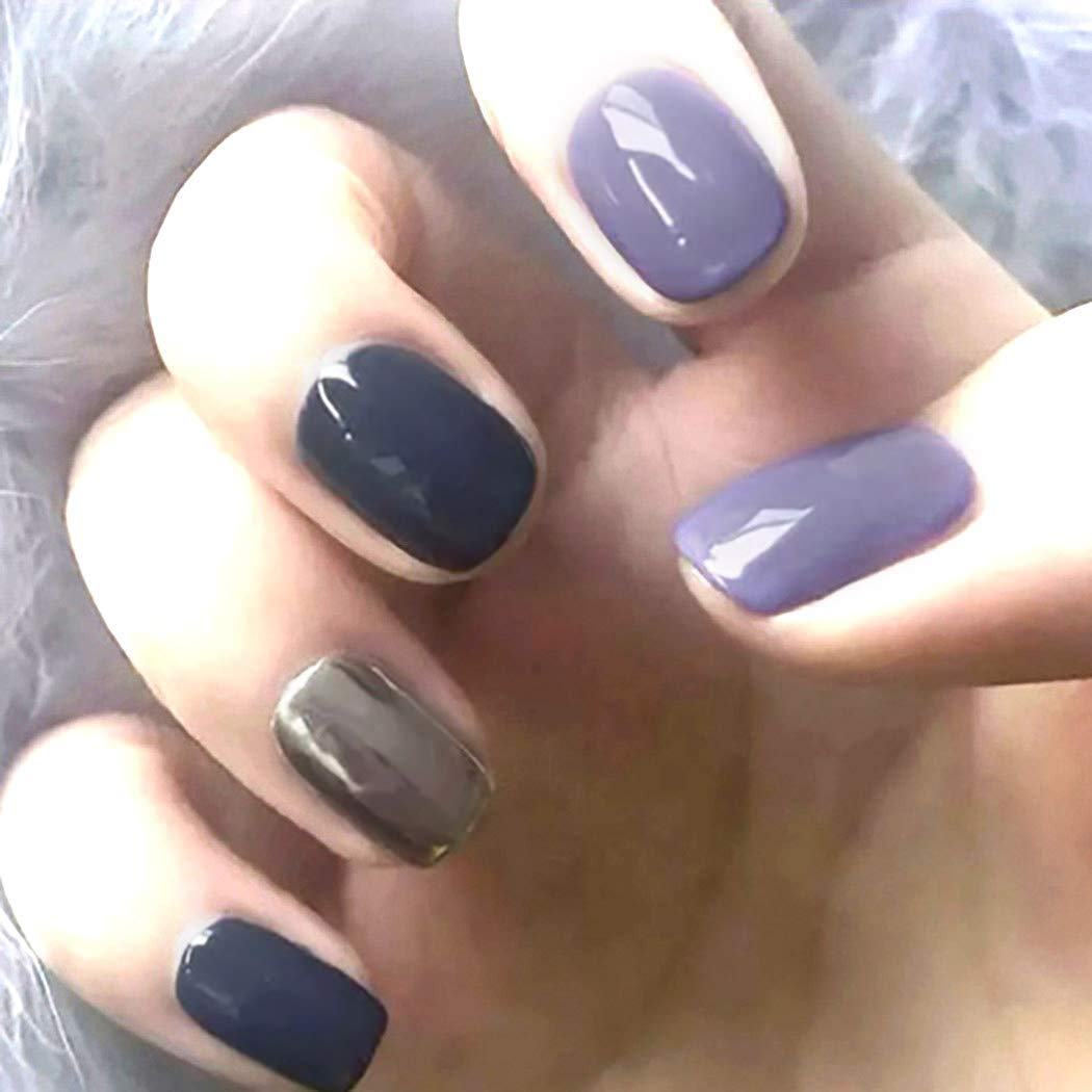 Chicque Short NEW Press on Nails Fake Mail order Glossy Mirro Square Blue