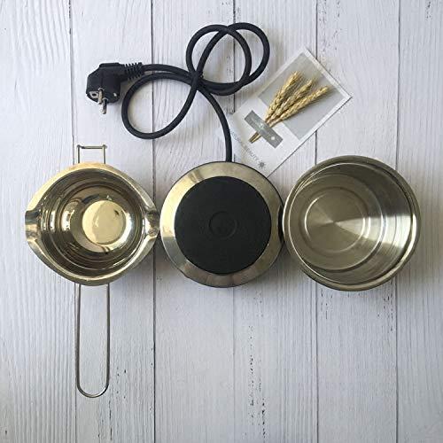 YFB DIY Wachs Topf hausgemachte Duftkerze speziellen kleinen Topf, um niedrige Temperatur Wachs Sojawachs Schmelztiegel rühren langen Löffel zu tun