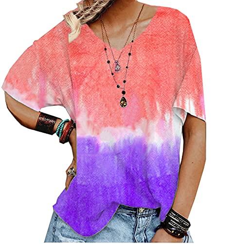 WZXHNYYZYQ Summer Ladies Tie-Dye Gradient Printing V-Neck Loose T-Shirt Short Sleeve Tops Orange