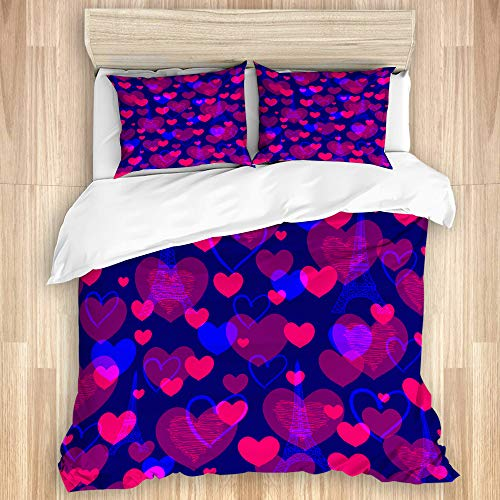 Aliciga Decorative Duvet Cover Set,Abstract pattern with eiffel tower and hearts Neon colored,Microfibre 200x200 with 2 Pillowcase 50x80,Double