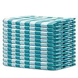 SweetNeedle Gingham - Servilletas de tela (12 unidades, 50 x 50 cm, 100 % algodón teñido, gran calidad, sin pelusas, grado hotel, dobladillo con esquinas ingletadas