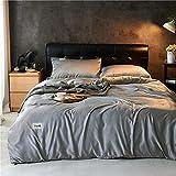Copripiumino Matrimoniale con federa in Satin,Gorgeous 4pcs Silk Duvet Cover Set da lettiera Set Set di biancheria da letto Sale da letto, e 2 cuscinetti X...