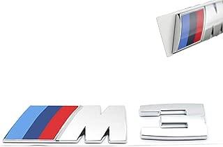 3D Car M3 M5 ABS Rear Trunk Emblem Badge Sticker Decals for BMW 3 5 Series (Silver M3)