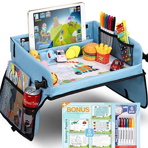 COOLJOY Kinder Knietablett Reisetisch mit 5 Bilder+6 Pinsel - Zeichnung auf Waschbar Malbrett, Multifunktional Spielzeug, Tragbar Tablett, Einstellbar Kindersitz, Blau Autositz für Kinder