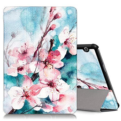 ZhuoFan Funda Huawei Mediapad T5 10, Cárcasa Cuero PU Silicona Magnetica Función de Soporte y Auto-Desbloquear Cover Protector Piel Compatible con Huawei Mediapad T5 10.1 Pulgadas Tablet, Flor 4