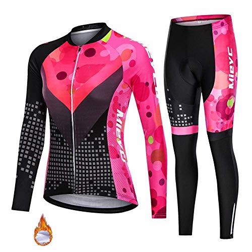 Pro Mannschaft-Winter-thermischen Vlies-Radtrikot, Damen MTB Voll Zipper Langarm Bekleidung Warm (Farbe: B, Größe: XXXL) FACAI (Color : B, Size : Large)