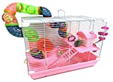 Pink 2-Levels Hamster Habitat Home House Rodent Gerbil Mouse Mice Rats Animals Critters Cage