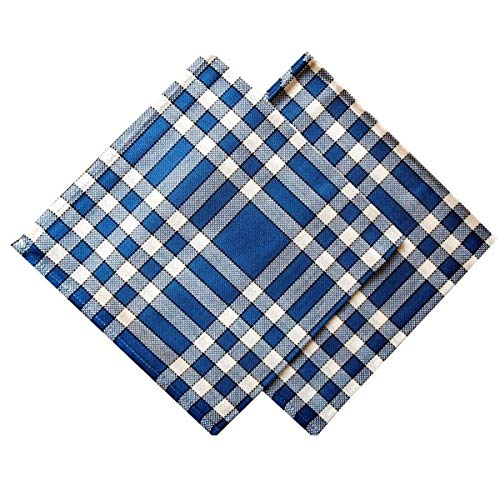 Lot de 2 Serviettes de Table Carreaux Normands Bleus Nelly