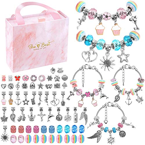 Charm Bracelet Making Kit, Flasoo 66Pcs Charm Beads Bracelet Jewelry Making Crafts Kit