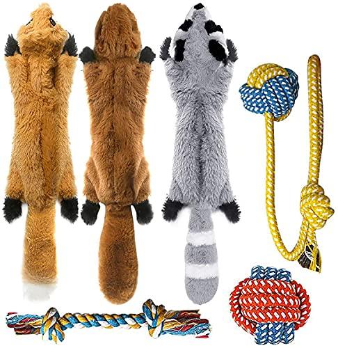 Peteast hundespielzeug,6 Stück Hund Quietschende Kauen Spielzeug und Hund Seil Kauspielzeug, Dauerhaft keine Füllung Plüsch-Hundespielzeug für Kleine und Mittel Hunde