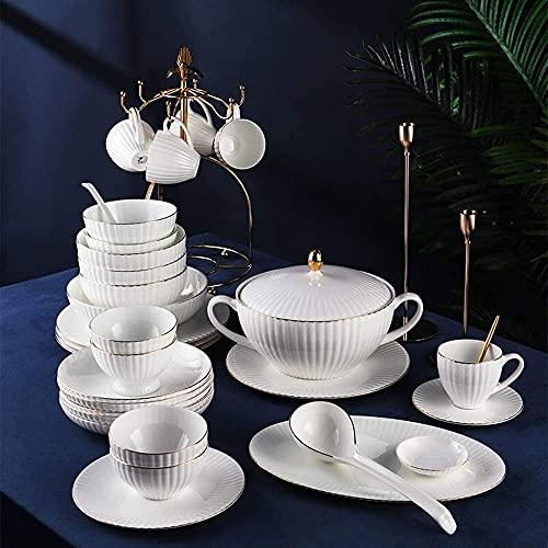 Vajilla Juego de vajillas Configuración de lugar de 62 piezas Plateado, Conjunto de platos de cocina Incluye placas para cenas / ensalada / cuchara, servicio de vajilla de china de hueso de lujo para