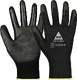 guanti da lavoro con rivestimento in pu - nero, taglia: 6
