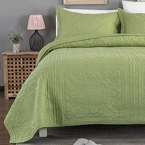 Tagesdecke Blau/Weiß/Grau Tagesdecke Bettüberwurf Premium Baumwolle Steppdecke,Gesteppt Decke Mit Kissenbezug, Für Doppelbetten Sofaüberwurf Bett,GreenA-240X260cm