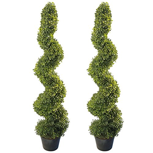 4'Artificial Topiary Spiral Boxwood Trees (Set of 2) by Northwood Calliger|Highly Realistic Potted Decorative Buxus Shrubs|Fake Plastic Plants for Home / Garden|Indoor & Outdoor Use|UV Protected