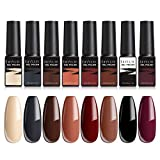 LILYCUTE Vernis Semi Permanent Lot Couleur, 8 Couleurs 7ml Vernis à Ongles Semi Permanent Kit Automne Automne Rouge Nude Gel D'hiver Vernis À Ongles UV/LED Soak Off Gel Nail Starter Manucure