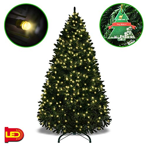 Strong Camel 7.5' Tall Artificial Fir Christmas Tree Full Spruce with Metal Base (7.5' with 750 LED Lights and 2514 Tips)