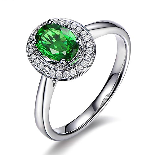 Único Vendimia Naturales Diópsido Piedra preciosa 0.15ct Diamante 14K Oro blanco Compromiso Boda Anillo para Mujer