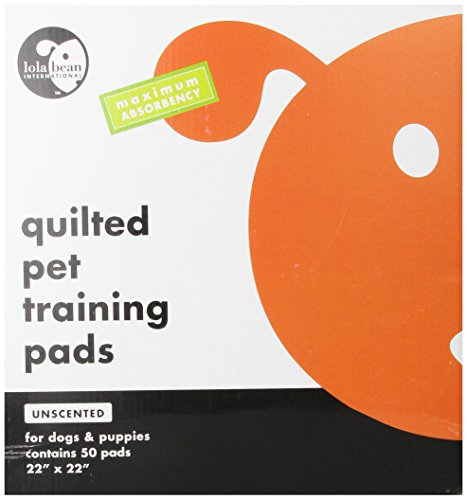 Lola Bean International 22-Inch by 22-Inch Quilted Pet Training Pads, Unscented, 50 Count