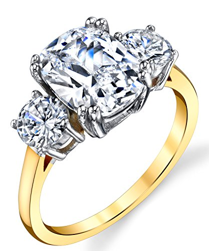 Metal Masters Co. Sterling Silver 925 Meghan Markle 14K Gold Plated Cushion Cubic Zirconia Wedding Engagement Ring