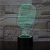 Luz de noche de 3D para niños Lámparas de decoración Concierto de micrófono para sala de estar, cama, bar, regalo juguetes para niños y niñas Con interfaz USB, cambio de color colorido