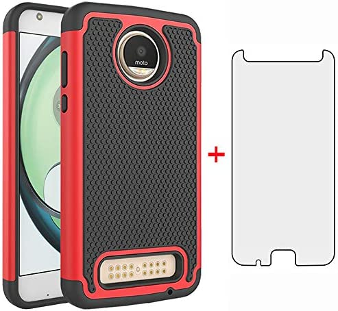Phone Case for Moto Z2 Play with Tempered Glass Screen Protector Cover and Cell Accessories product image