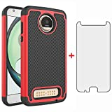 Phone Case for Moto Z2 Play with Tempered Glass Screen Protector Cover and Cell Accessories Slim Rugged Silicone Hard Hybrid Motorola MotoZ2Play Droid MotoZ2 2Play Z 2 2Z Z2play Cases Women Black Red