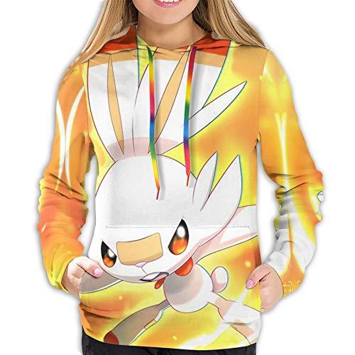 Mojikoma Niñas Imprimir Sudadera con Capucha Pullover Cuerda De Color Casual Deportes Mujeres Adolescentes Scor-Bunny Anime