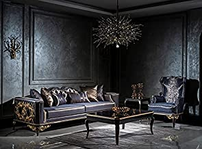 Casa Padrino Luxury Baroque Living Room Set Blue/Black/Gold - 2 Sofas & 2 Armchairs & 1 Coffee Table - Living Room Furnitu...