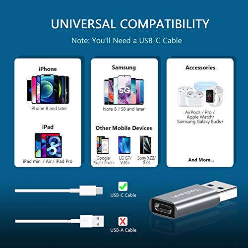 yootech USB 3.1/3.0 auf USB C Adapter(2 Pack),USB C Adapter Beide Seiten 3.1 5 Gbit/s Eingebauter IC USB A zu Typ C Steckverbinder Aluminium für MacBook, iPhone 11 Pro Max, USB Hub,Flash Drive usw.