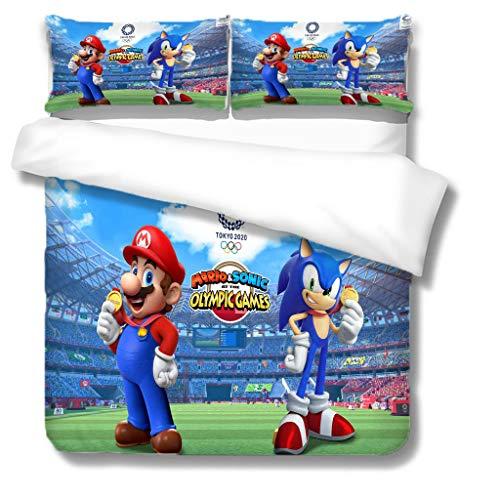 Zbeiba 3D Super Mario Bedding Set,2/3pieces Kids Bedding Set 100% Polyester (Duvet Cover + Pillowcase),#1,single duvet cover,135 * 200cm, Pillowcase 50x70cm