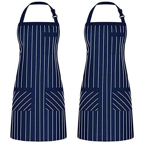 Syntus 2 Pack Adjustable Bib Apron with 3 Pockets Cooking Kitchen Aprons for BBQ Drawing, Women Men Chef, Nautical Blue/White Pinstripe