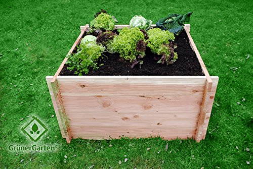 GrünerGarten® Hochbeet Komplett-Set GRÖN L-110 - Premiumqualität, Bio Douglasie Blockbohlen, sehr robust, sehr einfacher Aufbau ohne Werkzeug, völlig schadstofffrei