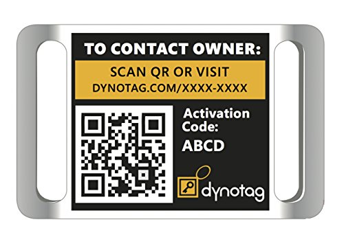 Dynotag Web Enabled Super Pet ID Smart Tag. Slider Style w. DynoIQ & Lifetime Recovery Service (for 3/4 inch Collar Band)