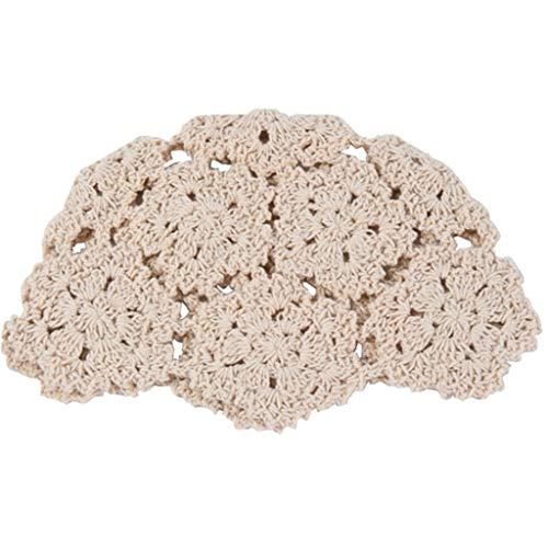 JERKKY Boinas 1 Pieza para Mujer Vintage Hecho a Mano Crochet algodón Sombrero Verano otoño Ahueca hacia Fuera Floral de Punto Color sólido Gorro cráneo Gorra Beige